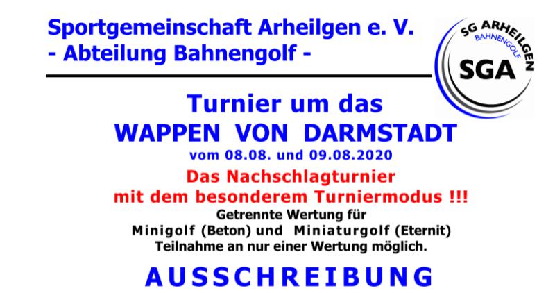 Turnier um das Wappen von Darmstadt vom 08.08. und 09.08.2020